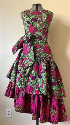 Gorgeous African Wax Mixed Print Asymmetic Ruffled Tier Dress Green Hot Pink Botanicals Prints Cotton - Source by - African Fashion Ankara, Latest African Fashion Dresses, African Dresses For Women, African Print Dresses, African Print Fashion, African Attire, Africa Fashion, African Prints, African Style