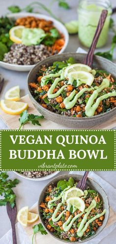 This Vegan Quinoa Buddha Bowl uses kale and roasted chickpeas and is completed by a delicious Avocado Cream Dressing! #vegan #quinoa #buddhabowl #vegetarian #healthy #recipe