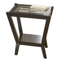 Doreen Gold Finish Circles Glass End Table, Brown