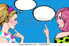 Image of Pop Art Girls with Speech Bubble Party Invitation