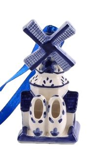 Delft Blue Windmill with Clogs Christmas Ornament $7.95