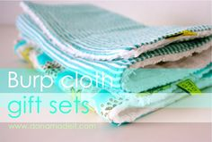 Celebrate BABY—TUTORIAL: Burp Cloth Gift Sets | MADE--great tutorial, except I would make mine 7 x 14 instead.