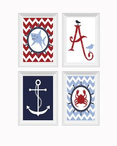 Nautical Decor Nursery Art Ocean Initial Anchor Shark Crab Red Blue Navy Wall Art Print Set of 4 - 8x10 Kids Room Home Decor Baby's room on Etsy, $45.00