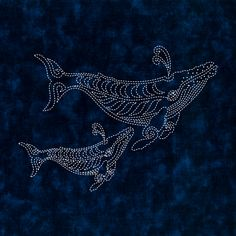 NEW DESIGN! This version of Two Whales is printed on a lovely Kaufman indigo batik that has a looser weave than most batik. Dimensions: 16 x 16 This design is also available as part of the Sea Life Series printed on Moda Marbles blue fabric.
