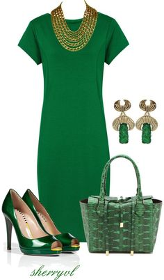 """Shift Dress And Michael Kors Bag"" by sherryvl on Polyvore (Gail, this is the color for spring and your color...a couple of pieces to match your ring?)"