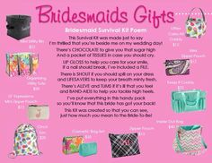 Thirty One Bridesmaids gift ideas! www.mythirtyone.com/CarrieHicks31