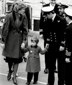 Diana, Princess of Wales with Prince William and Prince Andrew on his ship, HMS Brazen in 1986.