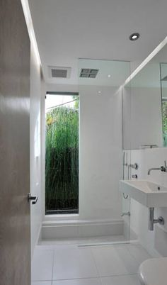 small bathroom sunken in shower/bath combo Bathroom Renos, Bathroom Renovations, Bathroom Interior, Modern Bathroom, Small Bathroom, Bathroom Cabinets, Bathtub Shower Combo, Shower Base, Bath Shower