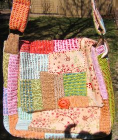 Etsy Kantha Stitch Shoulder Bag Hand Done with Pockets Free Shipping  Art Price Reduced Sale