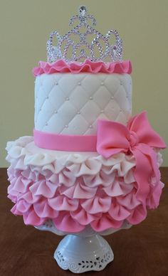 Two tier, embossed, and ribbons