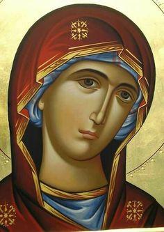 Παναγία (ΚΤ) Religious Icons, Religious Art, Byzantine Icons, Holy Mary, Jesus Pictures, Art Icon, Guardian Angels, Orthodox Icons, Blessed Mother