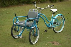 Bike Chair for Special Needs – allows you to take someone with limited mobility for a ride. - Women's style: Patterns of sustainability Velo Cargo, Tricycle Bike, Adult Tricycle, Side Car, Bicycle Maintenance, Cool Bike Accessories, Electric Bicycle, Bicycle Design, Special Needs