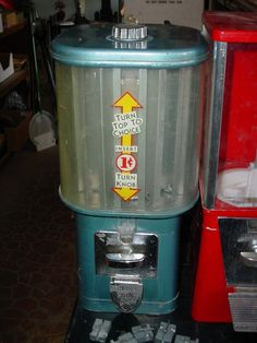 I remember this as a kid, the thing must have been old then! It dispensed candy or gum, you would spin the knob at the top to bring the product you wanted to the front.