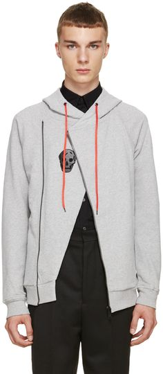Alexander McQueen Heather Grey Biker Hoodie