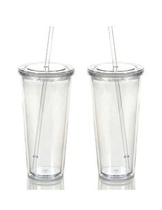 Reusable Double Wall Insulated Acrylic Tumbler Cups with Straw and Lid, 2 Set Package Oz, Clear Straws)