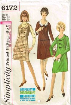 Sewing Pattern Vintage 1960s Detachable Peter Pan Collar Dress Simplicity 6172 by PeoplePackages