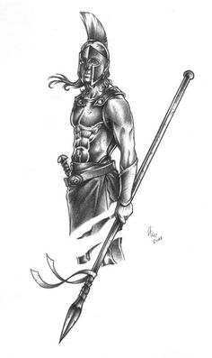 Achilles was the son of the mortal Peleus and the Nereid Thetis. He was the mightiest of the Greeks who fought in the Trojan War, and was the hero of Homer's Iliad. God Tattoos, Warrior Tattoos, Future Tattoos, Body Art Tattoos, Tattoos For Guys, Sleeve Tattoos, Viking Tattoos, Gladiator Tattoo, Greek God Tattoo