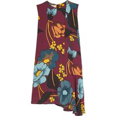 Marni Asymmetric floral-print crepe de chine mini dress ($1,640) ❤ liked on Polyvore featuring dresses, burgundy, flower print dress, floral print mini dress, purple mini dress, burgundy dress and colorful dresses