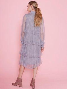 Dahlia Eileen Grey Spot Mesh Layered Dress