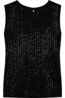 Diane von Furstenberg Yvan beaded tulle tank. Up the ante after dark in Diane von Furstenberg's shimmering beaded tulle tank. The open slit back gives this high-necked style added attitude - wear it with a sleek white pencil skirt and leather knee boots for monochrome minimalism.  Diane von Furstenberg Yvan tank: brown cotton-blend, black spotted-tulle overlay, bead embellishment, high round neck, slit through back, fully lined. Double button fastenings at back neck and base. 70% cotton, 30% polyamide; lining: 93% silk, 7% spandex.