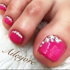awesome Pink-Rhinestone Toe Nail Art  nailbook.jp...