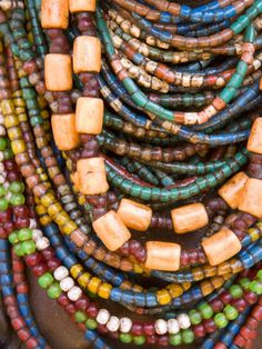 africa colourful beads worn by a woman of the galeb tribe lower omo valley