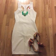 """White textured mini dress Super sexy white textured dress. Never worn. Tag still attached. Tight fit, hugs all the curves  length 32"""". Zipper in the back of the dress AKIRA Dresses Mini"""