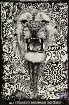 Santana, Grateful Dead, Steppenwolf at the Fillmore.  Lee Conklin. My very favorite poster/album cover of all time!