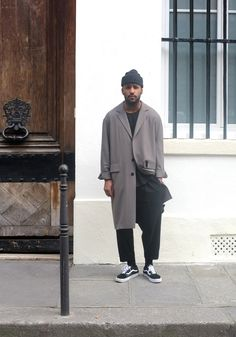Winter style/ men's wear/ men's fashion/ long coat/ oversized overcoat/ beanie/ pleated pant/ casual Friday/ street style / men in style