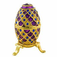 "Objet d'art Release No.5 ""Lauren"" Purple Faberge Egg Handmade Jeweled Metal Trinket Box"