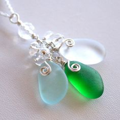 Aqua, White and Kelly Green Sea Glass Necklace by OceanCharmsSeaGlass