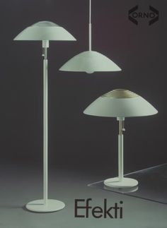 """Efekti"" lights (enameled metal, brass). Floor light (930-404), pendant light (961-404) and table light (940-404). Designed by Heikki Turunen for Stockmann-Orno, 1982."