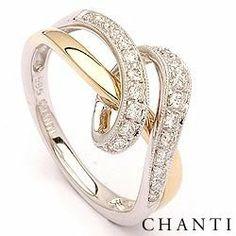Diamantring i 14 karat gull og hvitt gull 0,19 ct