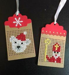 Sint Niklaas and bear gift tags Create Christmas Cards, Christmas Gift Tags, Christmas Cross, Christmas Embroidery, Diy Embroidery, Cross Stitch Embroidery, Tiny Cross Stitch, Cross Stitch Cards, Stitching On Paper