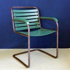 #Swiss #classic #gardenchair #basler #eisenmöbelfabrik #breunlin&co  #1940 #tubular #steel #cantilever #summeriscoming #pair #available @ #designbutik