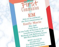 The perfect party invitations for the perfect first communion party by partyinvitationscom on Etsy Teacher Retirement Parties, Retirement Party Invitations, Unique Invitations, Digital Invitations, First Communion Party, First Communion Invitations, Perfect Party, Give It To Me, Etsy Seller