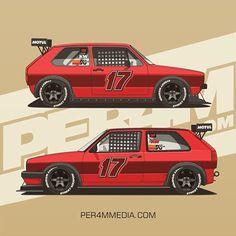 Track weapons / Red Twins Golf MK1/MK2 #per4m_media #vwgolf #vwmotorsport #vwperformance #golfmk2 #golfmk1 #vwmafia #burnallthemk2s #carart #carillustration #automotiveart #vectorart #vectorillustration #cardesign #liverydesign #carlivery #racecar #streetweapon #dub #vdub