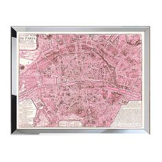Pretty in pink, this high-quality giclée reproduction of an antique map of Paris puts a rosy spin on the City of Light. Printed on fine-art paper in brilliant c...