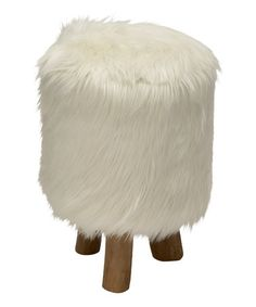 White Round Faux Fur Stool #zulily #zulilyfinds