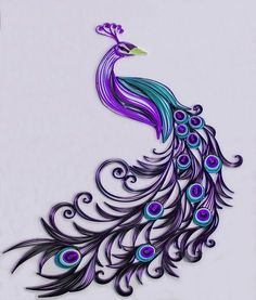 Quilling Archives - Page 5 of 10 - Crafting DIY CenterQuilling Archives - Page 5 of 10 - Crafting DIY CenterColor Me Peacock Purple Kunstdruck von DesignbyKiyomi Peacock Quilling, Arte Quilling, Paper Quilling Patterns, Quilled Paper Art, Quilling Paper Craft, Paper Crafts, Art Violet, Purple Art, Purple Peacock