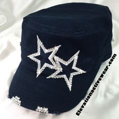 This Dallas Cowboys bling hat is a cadet style.  It has a shorter bill to show more of your face.  It has a less sporty look that can be dressed up for lunch or down for sports.  I wear my cadets with a side braid or pony tail.   I wanted to make a Cowboys hat that was different than anything I had seen.  I wanted a classier hat that didn't have too many crystals on it, but I wanted enough to catch the eye.  $38.  Click this link to view it in my Etsy store…