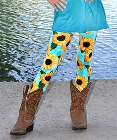 3a27290ac51a8 Take a look at this Teal & Yellow Floral Leggings - Toddler & Girls today!