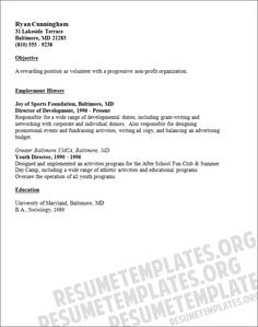 volunteer resume template job experience