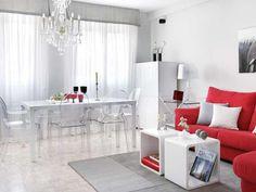 salón en rojo y blanco