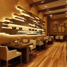 Back wall ideas Japanese Restaurant Interior Design Group Picture Image By Tag. Japanese Restaurant Interior, Japanese Interior Design, Restaurant Interior Design, Interior Design Companies, Restaurant Interiors, Modern Design, Coffee Shop Design, Cafe Design, Restaurant Bar