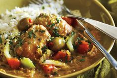 Serve this tangy slow cooker lemon and olive chicken with lots of rice to soak up all the sauce! Photo by Yvonne Duivenvoorden.