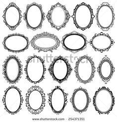 set of black oval vintage frames, design elements