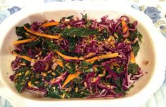 Kale, Cabbage and Carrot Salad. Sources Of Vitamin A, Clean Plates, Carrot Salad, Yummy Food, Tasty, Get Healthy, Healthy Recipes, Kale, Carrots