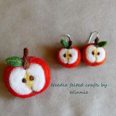 Needle felted Apple Platinum plated drop earrings and brooch set