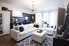 LOVE the combination of colors. Super classy for a small space. Lauren's Eclectic San Francisco Apartment